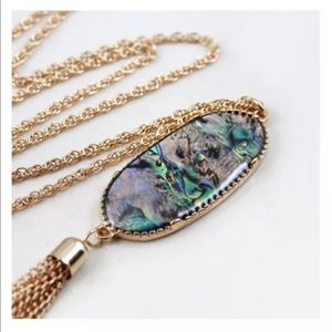 Abalone Shell Tassel Pendant Necklace Gold Chain